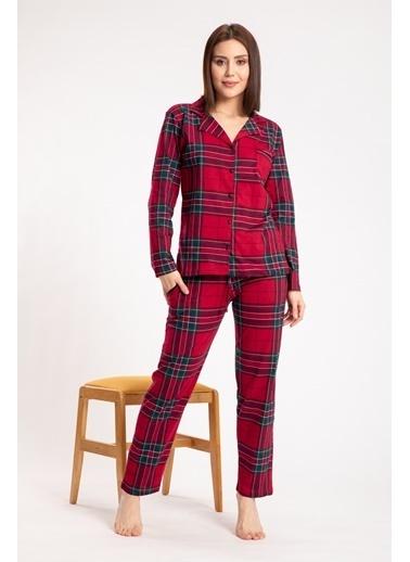 Pemilo Kadın 5582-1 Ekose Desenli Boydan Düğmeli Uzun Kol Pijama Takımı BORDO Bordo
